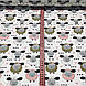 Бавовняна тканина польська овечки гірчичні, рожеві, білі з сердечками на білому №71, фото 3