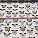Бавовняна тканина польська овечки гірчичні, рожеві, білі з сердечками на білому №71, фото 4
