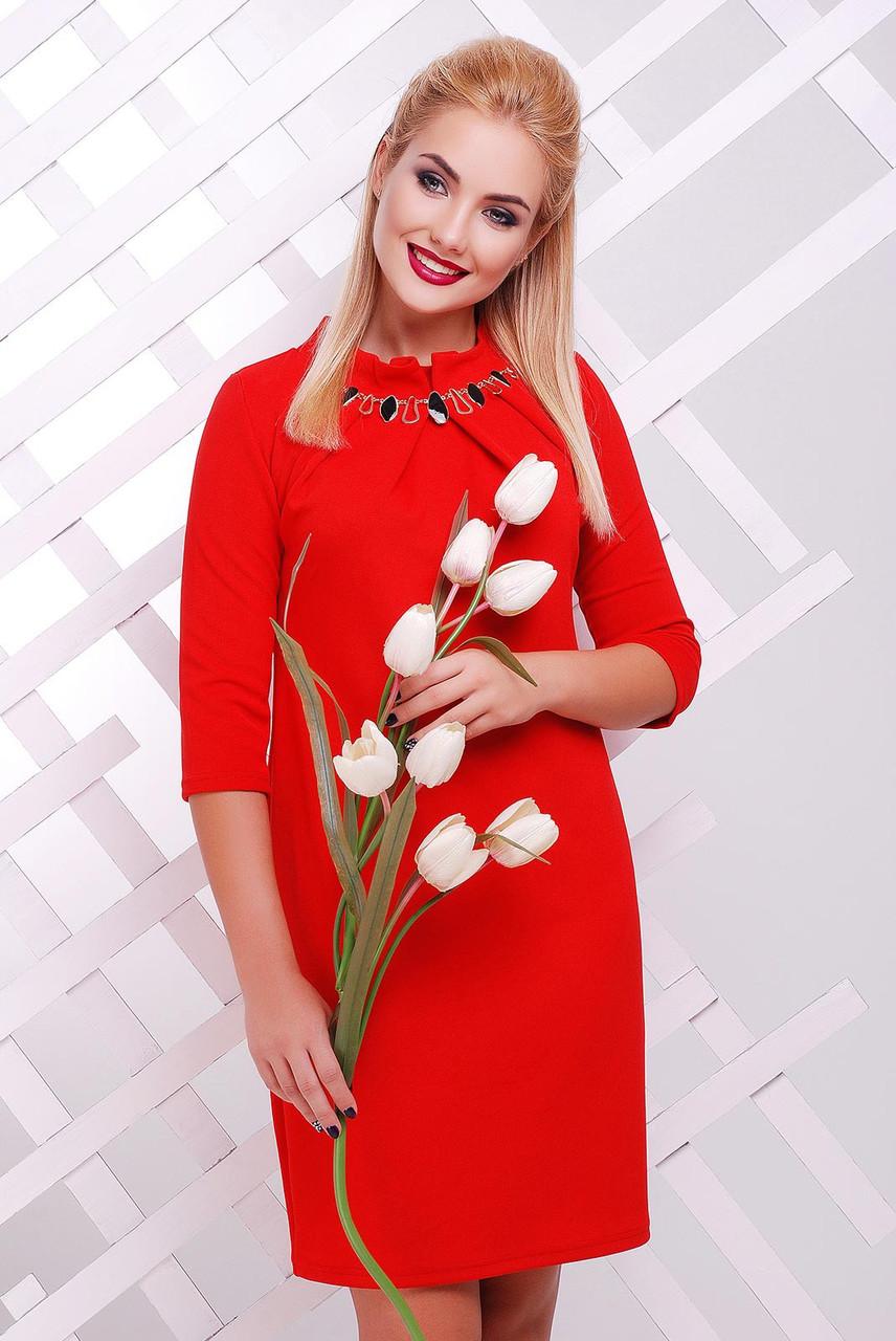 """Платье  Бусина """"красное""""-материал""""кукуруза"""" разм.54"""