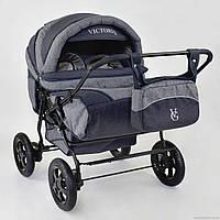 Детская коляска для двойни Вики Twins Duo лен