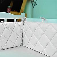 Защитные бортики в детскую кроватку HLF Basic Line сатин Айвори