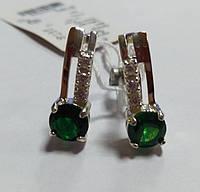 Серьги из серебра Сияна с золотом и  зеленым камнем , фото 1