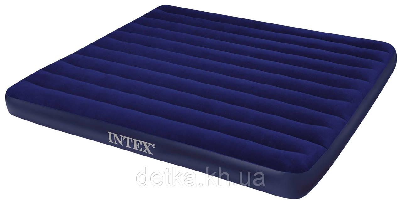 Матрас надувной велюровый 68755  INTEX 203*183*22см