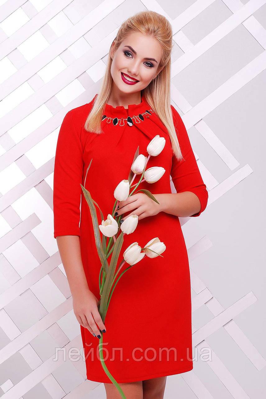 """Платье  Бусина """"красное""""-материал""""кукуруза"""" разм.50"""