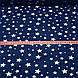 Хлопковая ткань польская звезды белые большие и маленькие на синем №70, фото 4