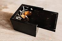 Деревянная коробочка для флешки 100*100мм черная, фото 1