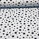 Хлопковая ткань польская звезды черные большие и маленькие на белом №68, фото 2
