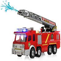 СпрейВодянойпистолетFiretruckJuguetesПожарные пожарные машины для перевозки транспортных средств Авто Music Light Cold для детей