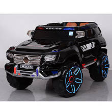 Детский электромобиль джип Mерседес POLICE M 3585 EBLR-2 черный, мягкие колеса и кожаное сиденье