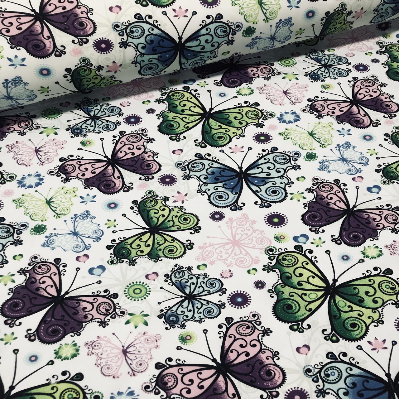 Хлопковая ткань польская  бабочки кружевные на белом №66