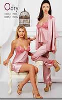 Сорочка, ночная рубашка женская шелковая, халат домашний шелковый, пеньюар, пижама Komilfo Odry