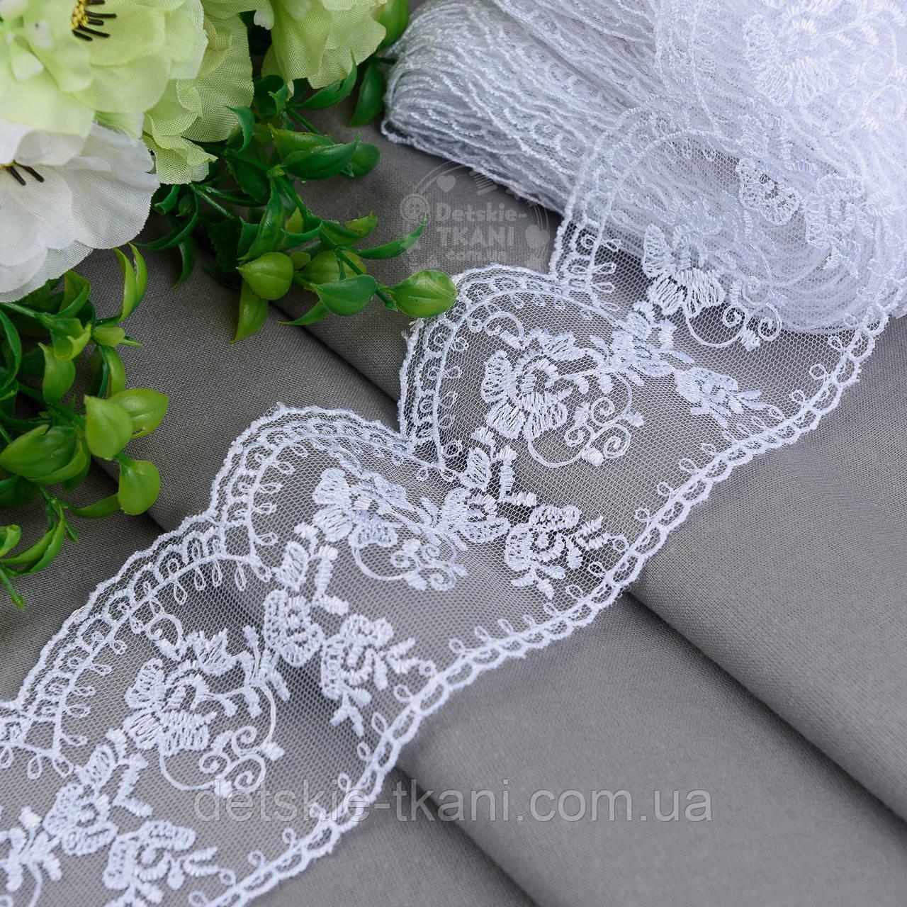 Кружево белое шириной 7 см с вышивкой шёлковой ниткой, № 2168бел