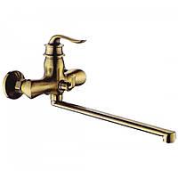 Смеситель для ванны с длинным гусаком Zerix бронза