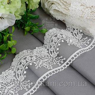 Кружево кремовое шириной 7,5 см с вышивкой шёлковой ниткой, № 2198кр