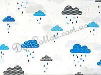 """Польская хлопковая ткань """"Голубые и серые облака с дождиком"""""""