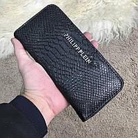 Чоловічий гаманець, портмоне, гаманець, клатч на блискавки в стилі Black Rottweiler Python, чорний колір, фото 1
