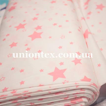 Сатин хлопок принт розовые звезды, фото 2