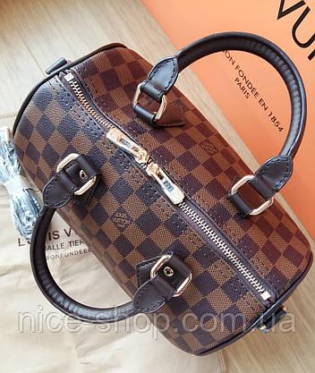 Сумка Louis Vuitton Speedy Mini кожа 25 см,коричневая шахматка, фото 2