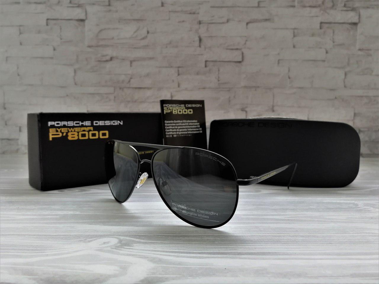 Солнцезащитные мужские очки Порше Porsche полароид чёрные (реплика)