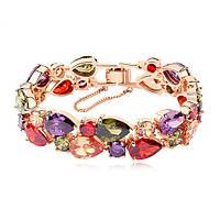 Женский браслет для невесты с разноцветными камнями в позолоте Sara 689766