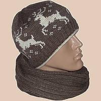 """Вязаная мужская шапка с норвежским орнаментом """"олени"""", и шарф"""