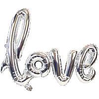 """Шары буквы фольгированные """"Love"""". Цвет: Серебро. Длина: 1м."""