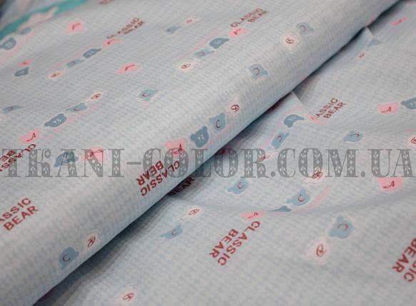 Тканина сатин для постільної та одягу принт classic bear, фото 2