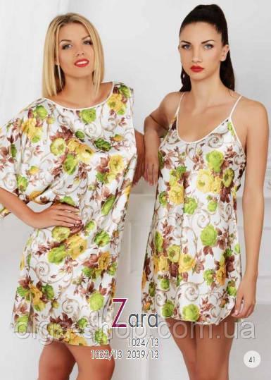 Сорочка, ночная рубашка женская шелковая, халат домашний шелковый, пеньюар Komilfo Zara