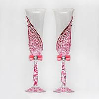 Свадебные бокалы в розовых тонах