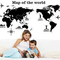 Карта мира Черные наклейки для детей для комнат для детей Учебная комната Съемная Водонепроницаемы Наклейки для наклеек на стенах Домашни