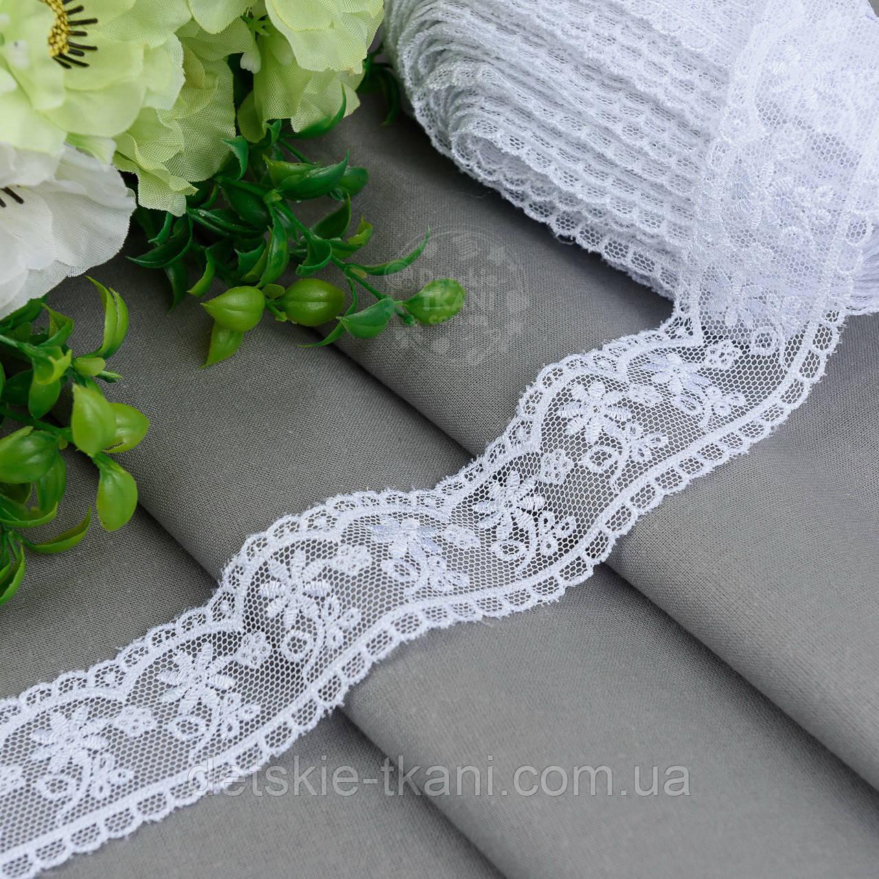 Кружево белое шириной 4 см с шёлковой ниткой на сеточке, № 2045бел
