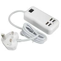 Claite 4 порта USB 3A Расширение Разъем Адаптер зарядного устройства Outlet Hub адаптер питания EU UK US Plug с кабелем