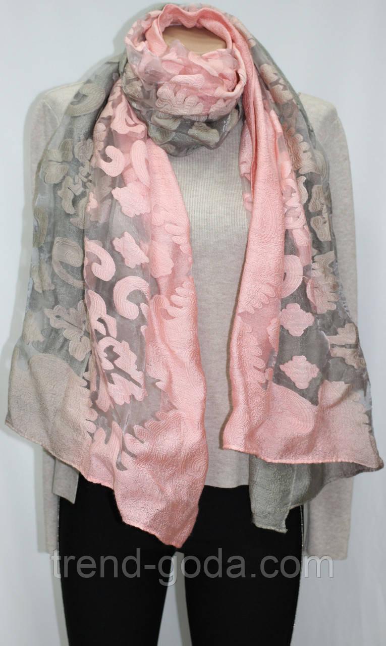 Шарф палантин нарядный, переход розово-серый
