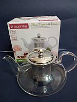Заварочный чайник стеклянный с металлическим фильтром Kamille Thermo 800 мл KM-1602