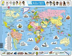 Пазл рамка-вкладыш Политическая карта мира (укр.яз.) Lasren серия Макси (K1-UA)