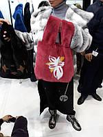 Яркая  сумка из норки с цветочной инкрустацией, под заказ