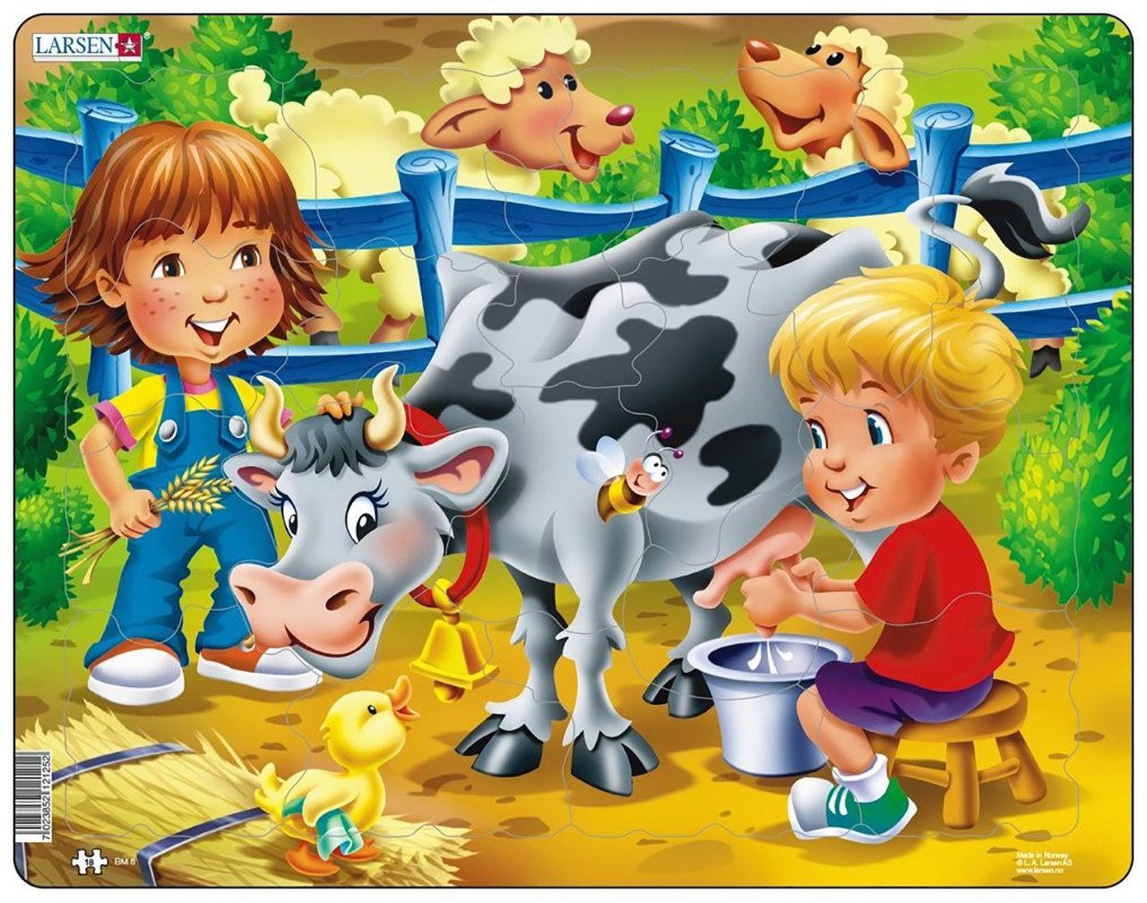 Пазл рамка-вкладыш Ферма. Дети и корова Lasren серия Макси (BM5)