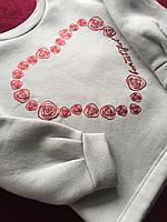 Детский свитшот реглан для девочек для девочки кофта кофточка свитер на 4 года с сердечком нарядная кофточка