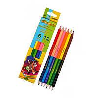 """Набор цветных карандашей 6 шт. 12 цветов """"Пегашка"""""""
