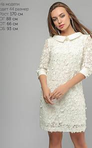 Элегантное платье с объемной цветочной вышивкой