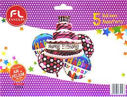 """Набор шаров """"Торт Happy Birthday"""". В упак:5шт."""