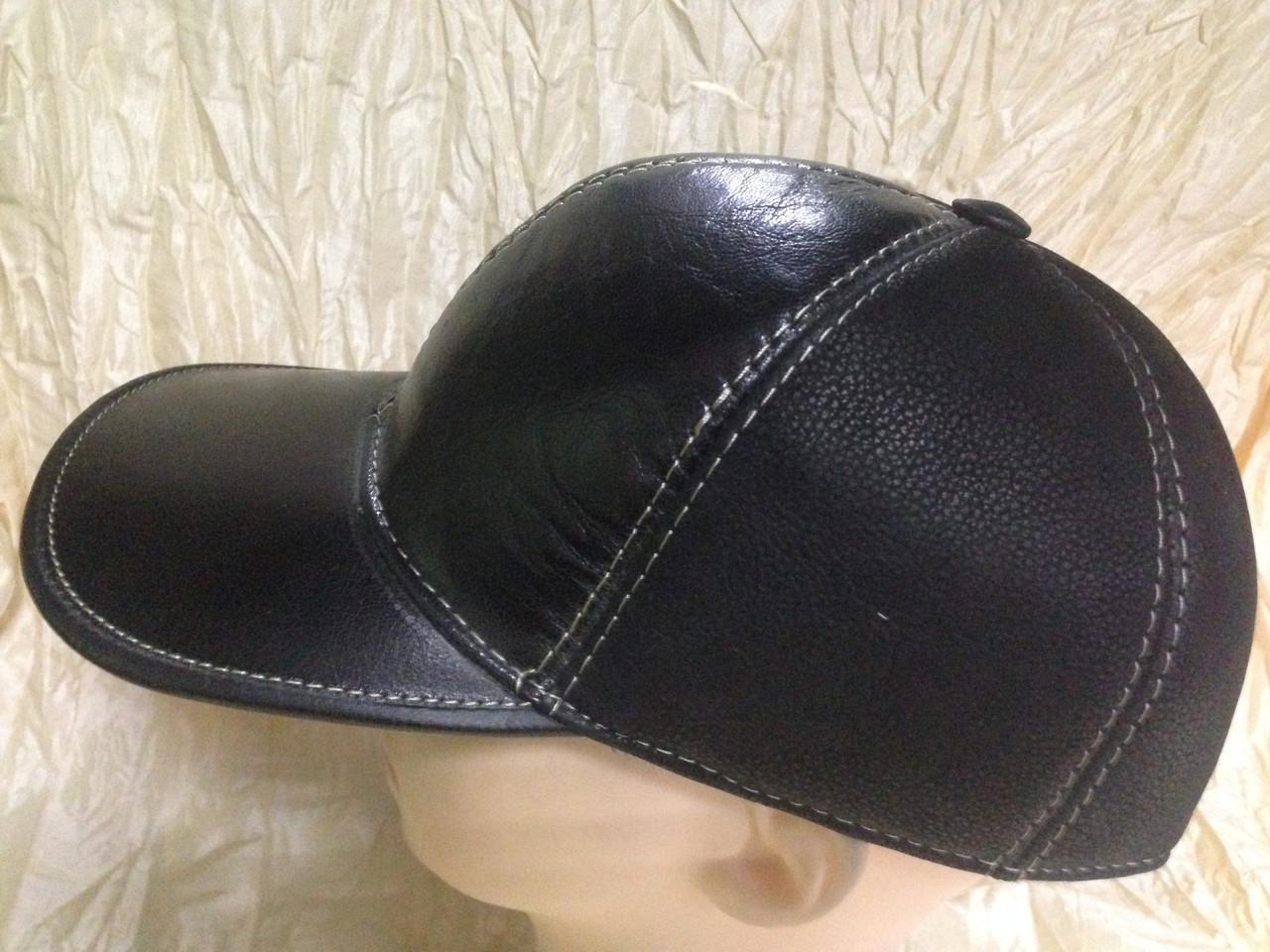 Бейсболка чёрная из двух видов натур кожи, фото 1