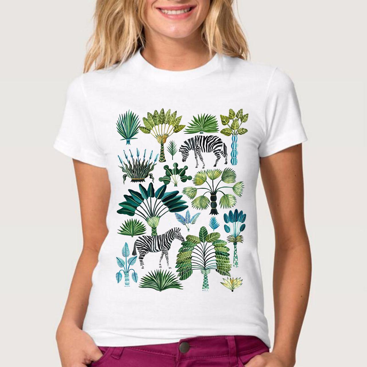 """Футболка женская белая с рисунком """"Зебра в джунглях"""""""