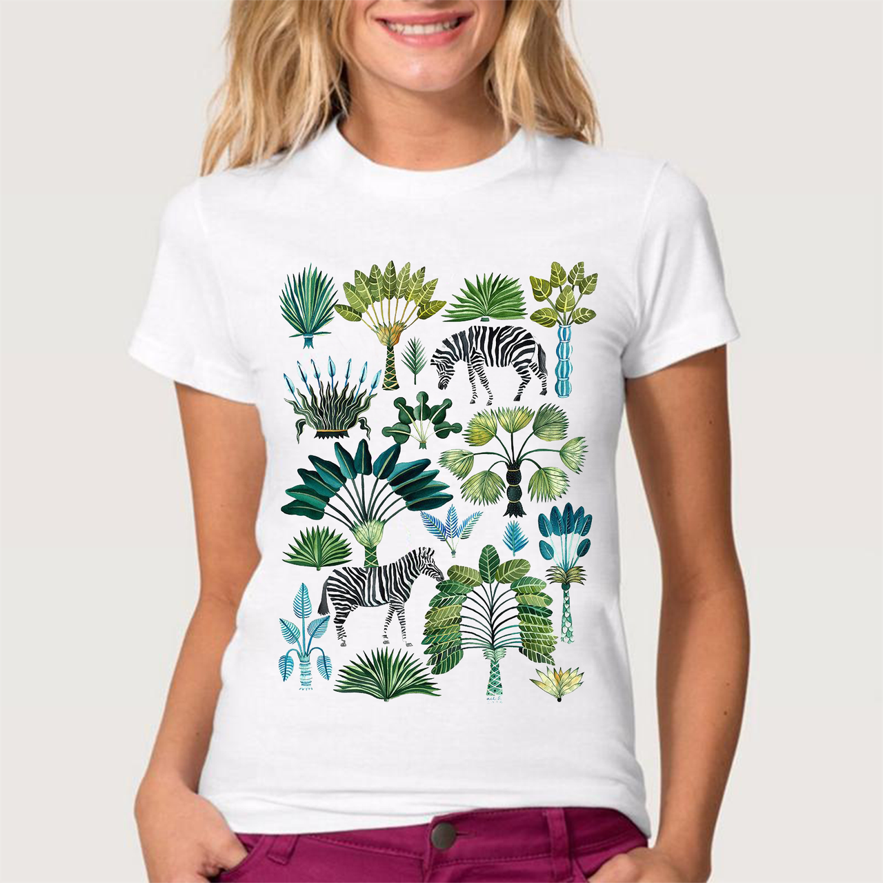 """Футболка жіноча біла з малюнком """"Зебра в джунглях"""""""