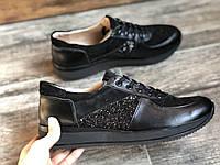 Кроссовки №374-130 черная кожа, черный замш + камни (с151черн), фото 1