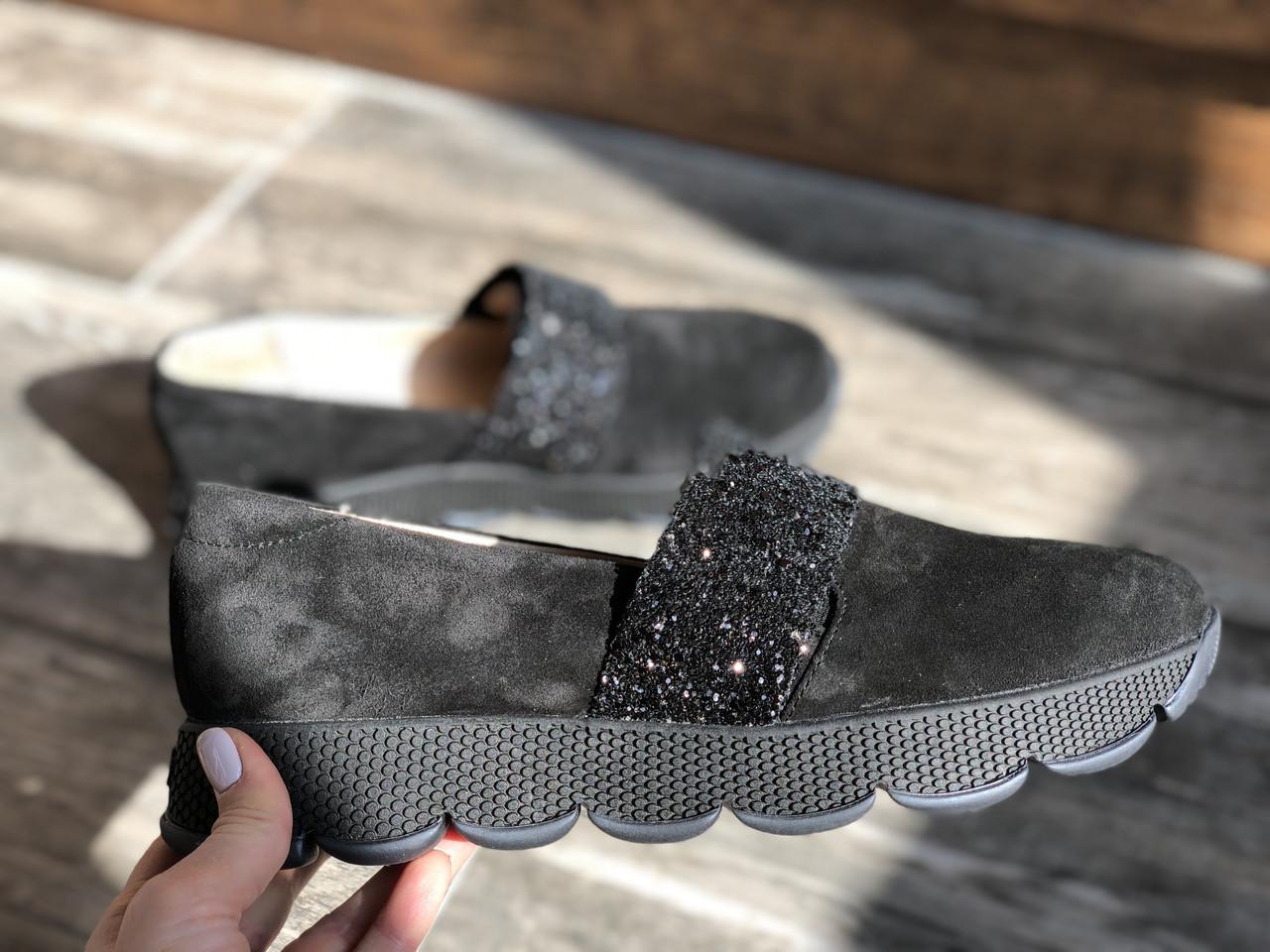 Слипоны №340-1654-30 черный замш + камни