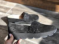 Слипоны №340-1654-30 черный замш + камни, фото 1