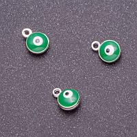 """Фурнитура подвеска """"глаз"""" d-7мм L-9мм зеленая эмаль металл серый"""