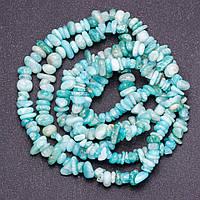 """Бусины из натурального камня Амазонит крошка класс """"Б"""" d-6-8мм(+-) нитка L-90см"""