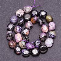 Бусины из натурального камня Чароит галтовка d-12мм(+-) нитка L-39см